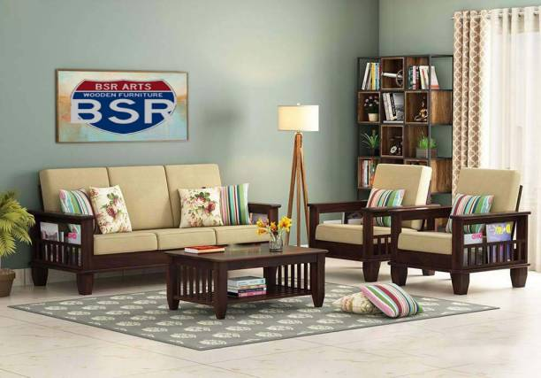 BSR ARTS Fabric 3 + 1 + 1 Walnut Sofa Set