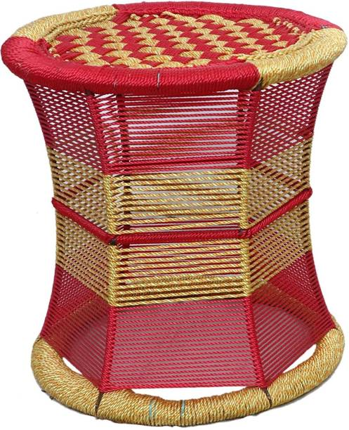 Extenso Handmade Cane Bar Stool Mudda Sitting Stool/Chair for Indoor/Outdoor Furnishings Color Red Yellow (15 * 14 * 14-inch) Stool