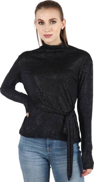 POPWINGS Casual Full Sleeve Printed Women Black Top