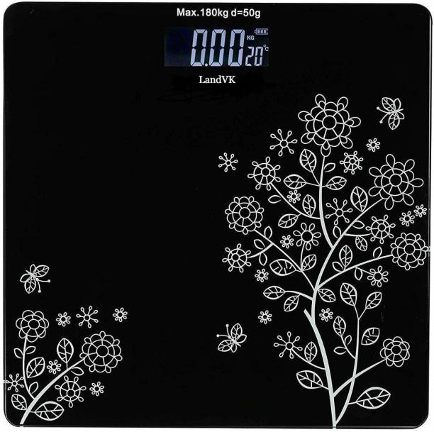 LandVK Heavy Duty Electronic Thick Tempered Glass LCD Display Square Electronic Digital Personal Bathroom Health Body Weight Bathroom Weighing Scale, weight bathroom scale digital, Bathroom Health Body Weight Scales For Body Weight, Weight Scale Digital For Human Body, Weight Machine For Body Weight Flower Design Weighing Scale