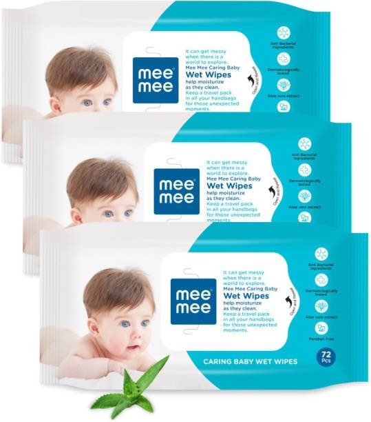MeeMee Caring Baby Wet Wipes with Aloe Vera (72 pcs) (Pack of 3)