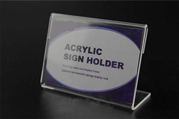 ZEDEF Acrylic Sign Display Label Holder, Price, Name Card, Label slip Back Tag, Information, Paper Stand 4 cm x 8 cm 8 cm Acrylic Sheet