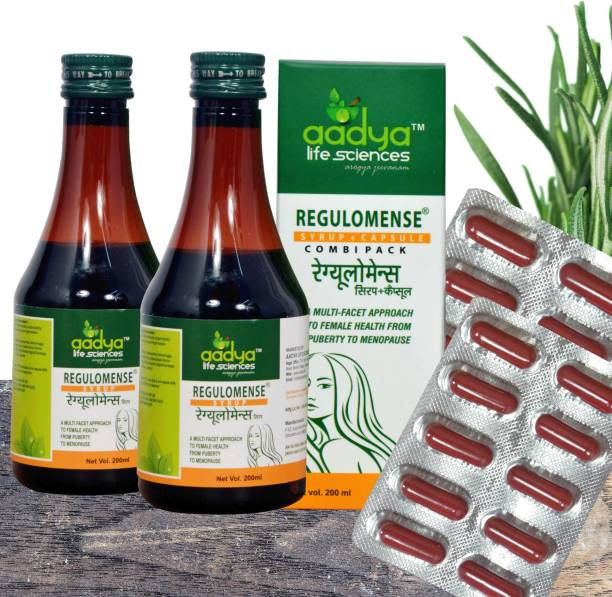 Aadya Life Regulomense CombiPack syrup and capsule, A Herbal Supplement that Normalizes Menstrual Cycles,