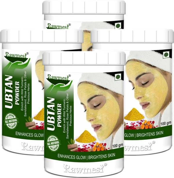 Rawmest Ubtan Face Pack & Body Pack Powder With Wild Turmeric,Sandal Wood,Rose Petals&Other Herbs (Face & Body Scrub For Removing Skin Tan, Glowing, Shinier & Radiant Skin)