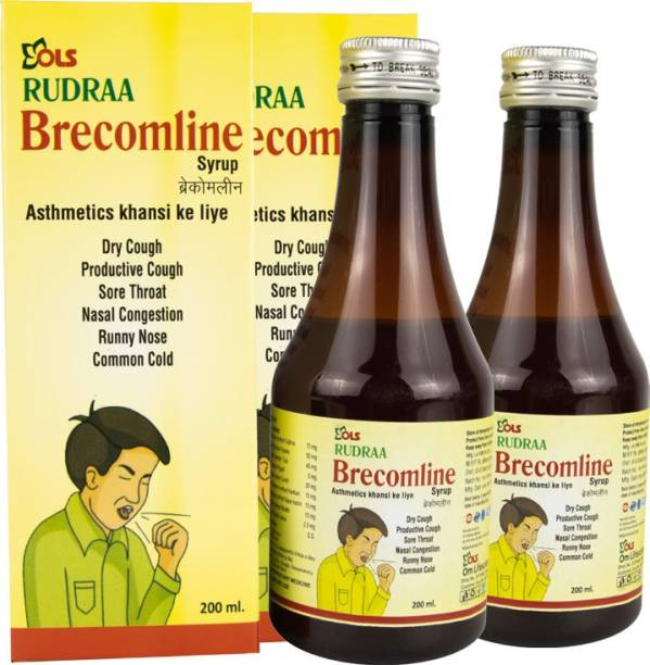Rudraa Brecomline Syrup for dry Cough, nasal congestion, runny nose and common cold pack of 2 200ml Each