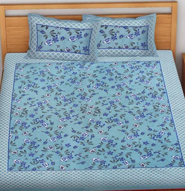 BEDAFFAIR 104 TC Cotton Double Floral Bedsheet