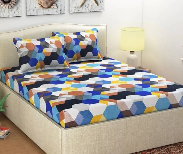 H18 SHEET 160 TC Microfiber Double Geometric Bedsheet