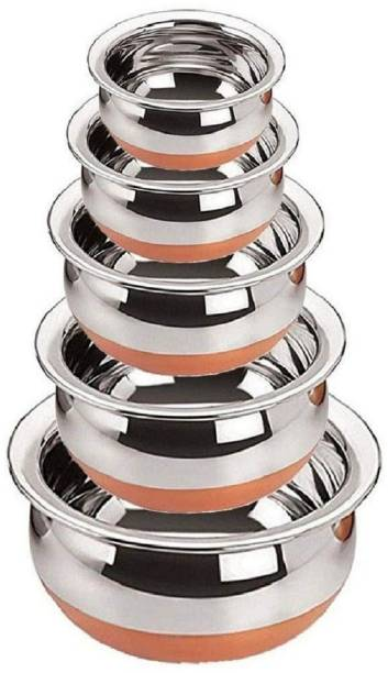 INFOREK TRADE Handi Set 5 Piece Combo Serving Pot Handi Biryani Handi Kadai Different Sizes Handi Set Copper Induction Bottom Stainless Steel Handi Kitchen Serving Handi Set of 5 Cooking Handi Heavy Gauge Handi 2 L, 1 L, 0.5 L, 0.25 L, 0.1 L