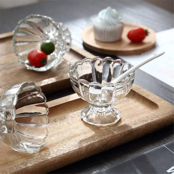 otak Crystal Clear Dessert Bowl/Cup for Serving Ice Cream- Salad Set Of 6 Glass Serving Bowl