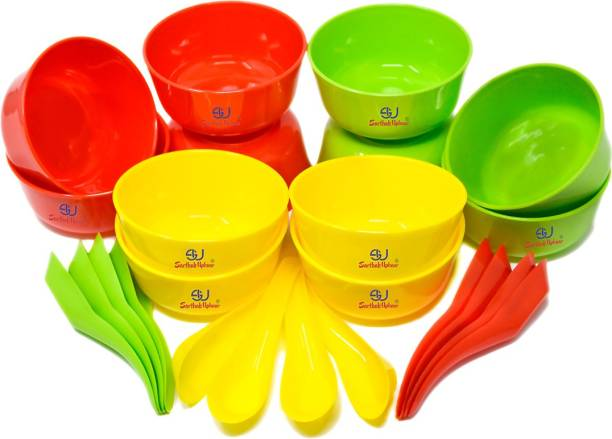 Sarthak Uphaar Plastic Microwave Safe Soup Bowl Set of 24 Pieces (12 Bowl, 12 Spoon) Plastic Soup Bowl