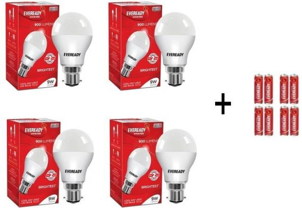 Eveready 9W LED Bulb Pack of 4 with Free 8 Batteries