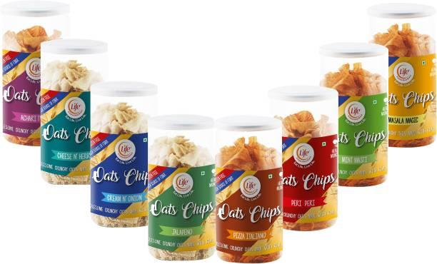 Life Healthy Gluten Free Oats Chips |Cream & Onion |Achari Twist| Cheese & Herbs | Jalpeno | Masala Magic | Mint Masti | Peri-Peri | Pizza Italion | Combo Flavour Munch Anytime Crunchy Snack Chips