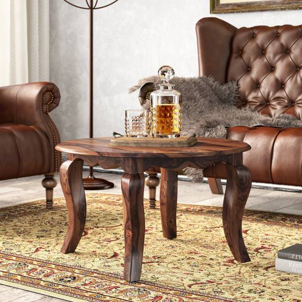 FURINNO Solid Sheesham Wood Round Coffee Table, tea table for living room, balcony , bedroom ,garden Solid Wood Coffee Table