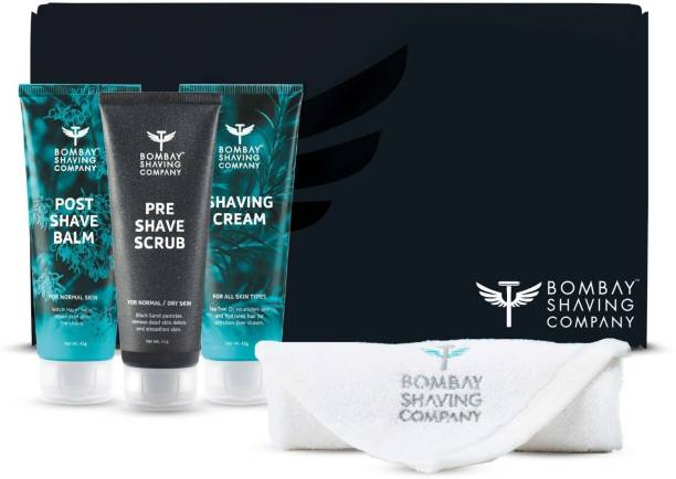 BOMBAY SHAVING COMPANY Shaving Essentials Starter Kit - Pre Shave Scrub, Shaving Cream, Post Shave Balm and Face Towel