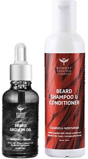 BOMBAY SHAVING COMPANY Beard Care Value Pack with Beard Growth Oil infused with Vetiver and 4 Essential oils and Beard Shampoo & Conditioner for gentle cleansing