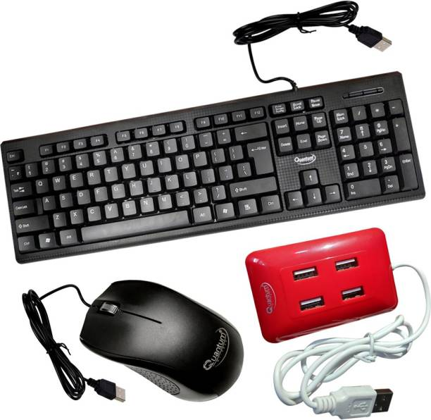 QUANTUM QHM 7406 WIRED KEYBOARD, QHM 232 WIRED MOUSE AND QHM 6633 WIRED 4 PORT USB HUB RED Combo Set