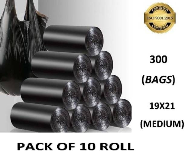 Nationchain Overseas DUSTBIN BAG ROLL SIZE -19*21[300 BAGS] Medium 13L L Garbage Bag