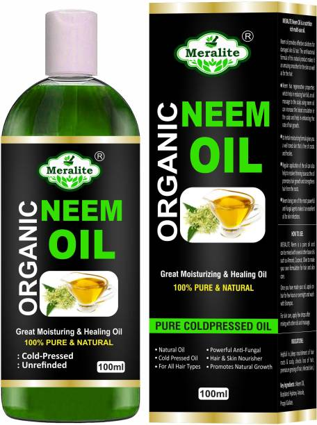 Meralite Organic Neem Carrier Oil (100ML) Pure Natural for Skin & Hair Oil