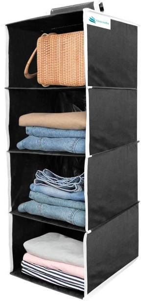 Unicrafts Hanging Organizer 4 Shelves Non Woven Foldable Wardrobe/Closet Organizer Collapsible Wardrobe for Regular Garments Shoes Storage Cupboard Hanger Bag - Black_01 Closet Organizer