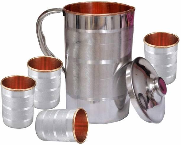kitronics Handmade 1.6 Litre Pure Copper Steel JUG with 4 Copper Steel Glasses Jug Glass Set