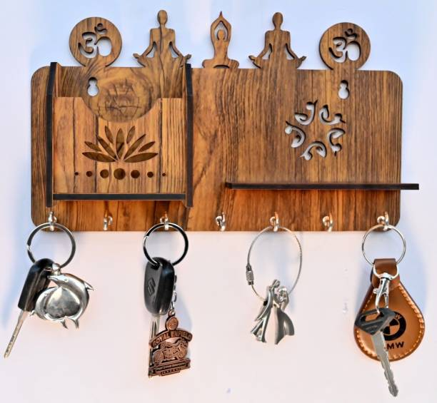 Arpita Crafts Yoga Pose Home Decor Stylish Key Holder For Wall with Mobile Shelf Wood Key Holder