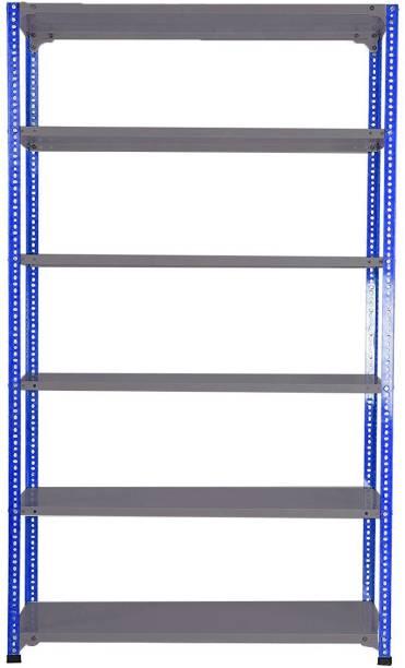 "Premier Steel Slotted Angle Rack CRC Sheet 6 Shelves Multipurpose Storage RackHigh Grade Powder Coating Angle(Blue)& Painted Shelves(DA GREY) Storage Rack, Dimension 12""X36""X87"" Luggage Rack"