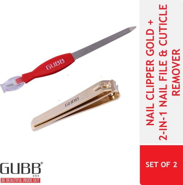GUBB Nail Tools Set - Nail Clipper Gold and 2 In 1 Nail Filer & Cuticle Trimmer