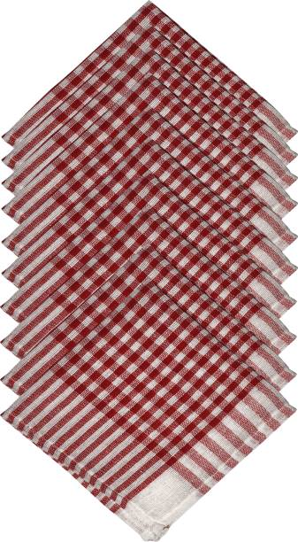 GOWRI TEX Kitchen Towel /dining towel/napkin/Manan kitchen/kitchen Waste Cloth Multicolor Napkins Pack Of 10 Red, White Napkins