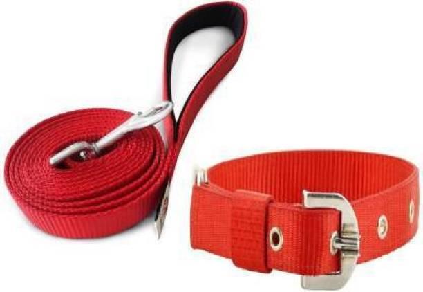 UDAK RED COLOR MEDIUM QUALITY DOG BELT Dog Collar & Leash