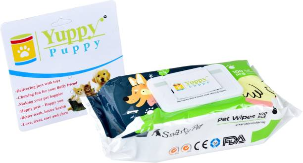 """Yuppy Puppy Pet Wipes for Dogs, Puppies & Pets with Fresh Apple Scent- - Pack of 2, 6""""x 8"""" - 100pcs Pet Ear Eye Wipes(Pack of 100) Pet Ear Eye Wipes"""