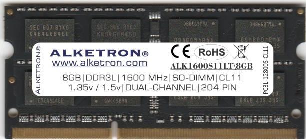 Alketron Black Unicorn Series DDR3 8 GB (Dual Channel) Laptop, Mac (8GB DDR3L RAM (Memory) 1600MHz - CL11   SODIMM   PC3L-12800s   for Standard & Gaming Laptops/Notebook/MAC)
