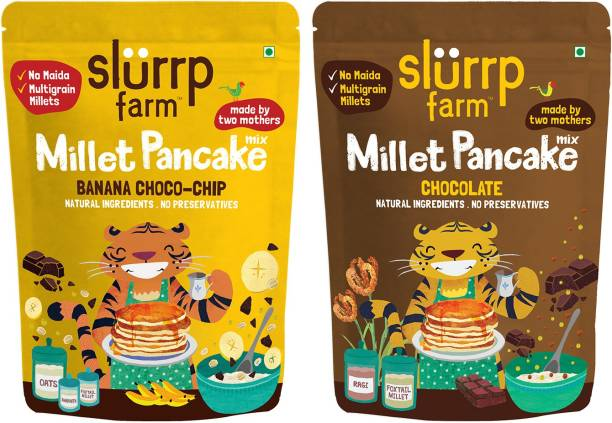Slurrp Farm Instant Breakfast Millet Pancake Mix, Banana Choco-Chip, Supergrains and Chocolate, Natural and Healthy Food, 150g each (Pack of 2) 300 g