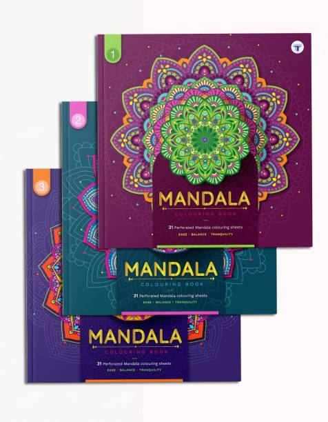Mandala Art Colouring Books | A Perfect Stress Buster For Adults And Children | Has DIY Activity, Meaning Of Colours And Colouring Reference | High Quality Tear Out Colouring Sheets | Set Of 3 Books
