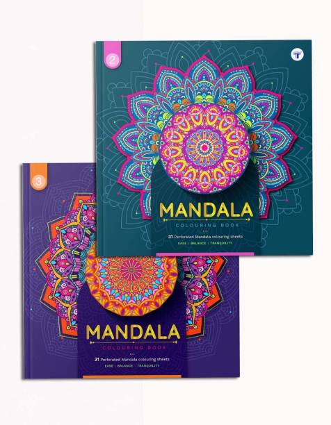 Mandala Art Colouring Book - Intermediate And Advanced   Stress Buster For Adults And Children   Has DIY, Meaning Of Colours And Colouring Reference   High Quality Tear Out Colouring Sheets   2 Books
