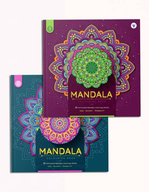 Mandala Art Colouring Books - Beginner And Intermediate | Stress Buster For Adult And Children | Has DIY, Meaning Of Colours And Colouring Reference | High Quality Tear Out Colouring Sheets | 2 Books
