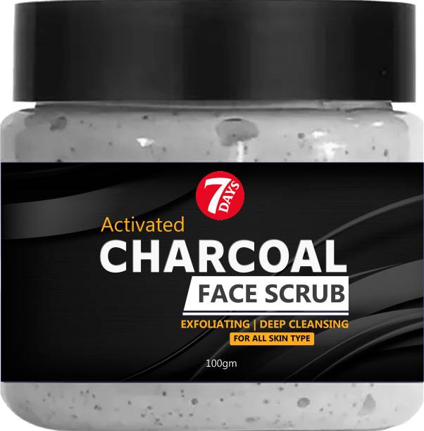 7 Days Activated Charcoal Face Scrub- No Parabens & Mineral Oil Face Scrub for Exfoliation, Anti-acne & Pimples, Blackhead Removal  Scrub