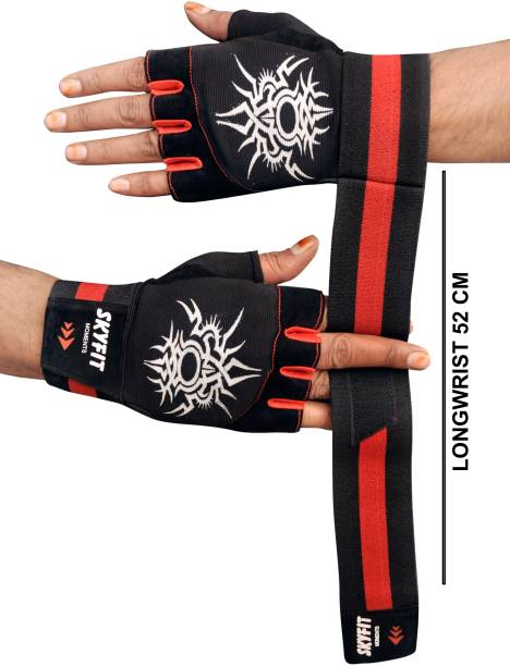 SKYFIT Super Dryfit Gym Sports Gloves For Men And Women With wrist support Gym & Fitness Gloves