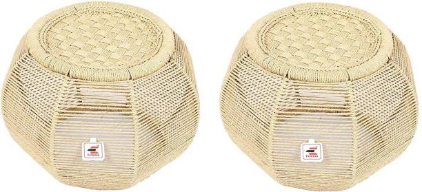 Extenso Eco-Friendly Natural Bamboo Tree Cane Bar Stool Mudda Wooden Sitting Stool/Chair for Indoor/Outdoor Furnishings-Set of 2 Stool