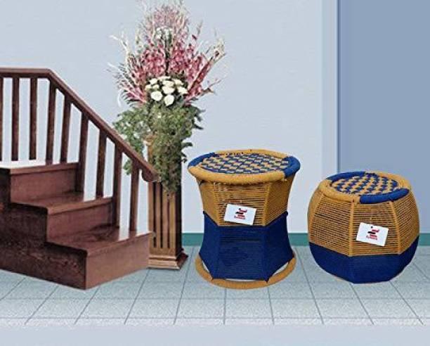 Extenso Eco-Friendly Handicraft Stool Mudda, Blue & Yellow (Set of 2) Stool