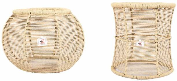 Extenso Eco-Friendly Natural Bamboo Tree Cane Bar Stool Mudda Wooden Sitting Stool/Chair for Indoor/Outdoor Furnishings Pale Yellow-Combo Set of 2 Stool