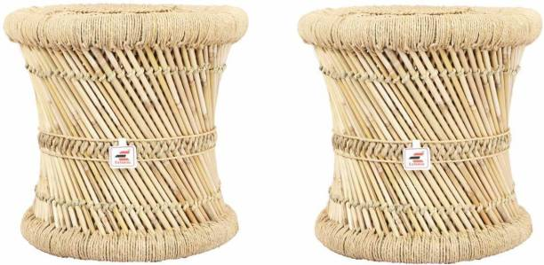 Extenso Eco-Friendly Natural Bamboo Tree Cane Bar Stool Mudda Wooden Sitting Stool/Chair for Indoor/Outdoor Furnishings Pale Yellow-Set of 2 Stool