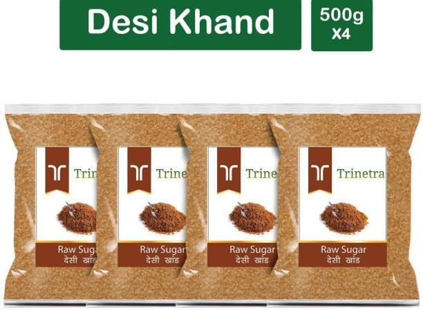 Trinetra Best Quality Desi Khand (Raw Sugar)-500gm (Pack Of 4) Sugar