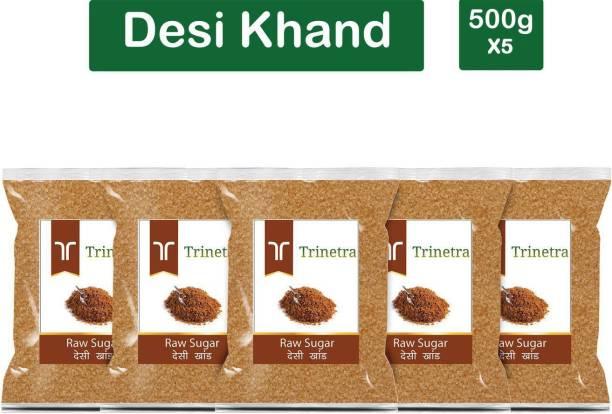 Trinetra Best Quality Desi Khand (Raw Sugar)-500gm (Pack Of 5) Sugar