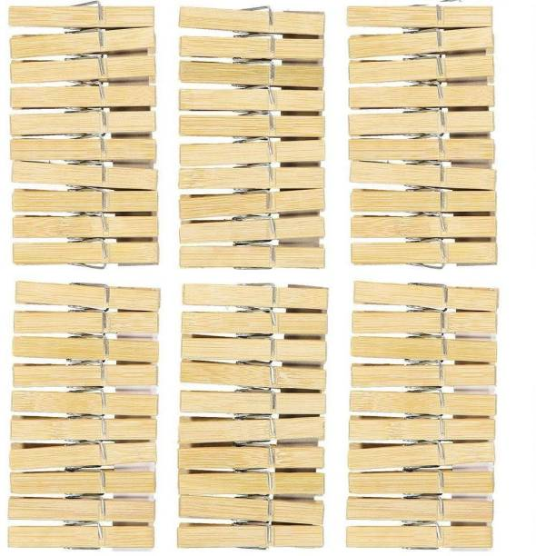 Wishland Pack of 60 Pcs Wooden Clips Bamboo Cloth Pegs for Decoration, Art, Hanging Pictures, Clothes, Photographs, Light Weight Toys, Arts Bamboo Cloth Clips