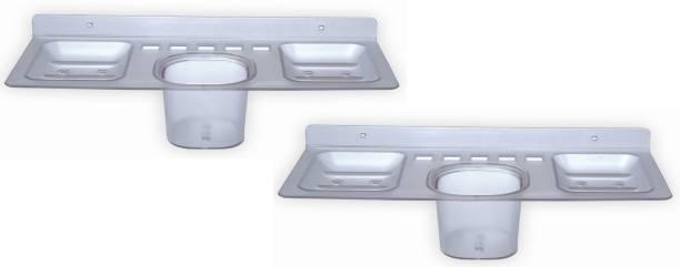 SSS - 4in1 (Soap case/Toothbrush holder/paste holder) (Set of 2 pcs) Acrylic Toothbrush Holder