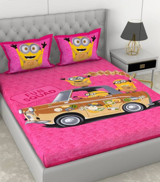 METRO LIVING 104 TC Cotton Double Cartoon Bedsheet