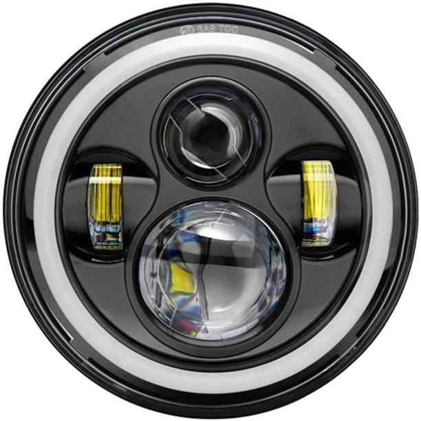 AllExtreme EX7IRH1 7 Inch Round LED Headlight Stylish Halo Angle Eyes + Signal for Jeep 97-16 JK LJ TJ (Pack of 1) Projector Lens
