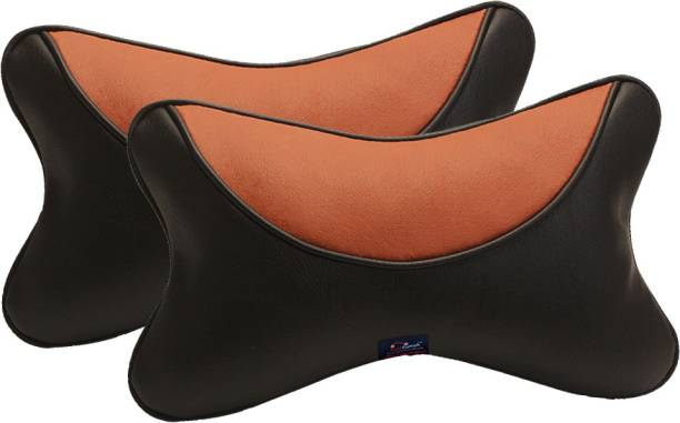 AutoFurnish Black, Orange Leatherite Car Pillow Cushion for Universal For Car