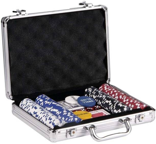 Tootpado 200 Chip Poker Set with Aluminium Carry Case - 2 Card Decks 5 Dice and 1 Dealer Coin