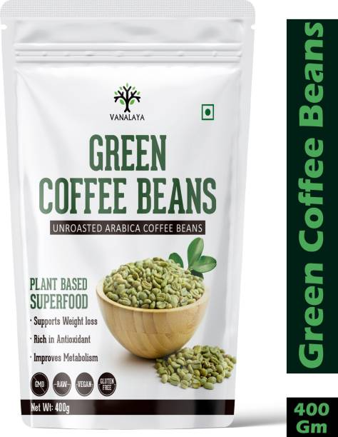 Vanalaya Green Coffee Bean Unroasted Arabica Organic Pure and Natural For weight loss Improve Energy Focus and Mood Coffee Beans